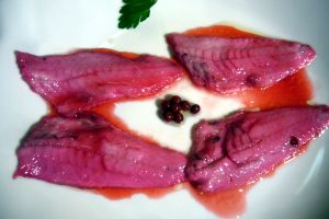 Triglie marinate con melagrana